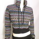 NEW SIZE S BLACK PINK CHEVRON RUE 21 CROPPED HOODIE LIGHTWIEGHT WOMENS JACKET