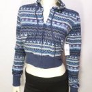 NEW SIZE M BLUE CHEVRON RUE 21 CROPPED HOODIE LIGHTWIEGHT WOMENS JACKET