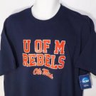 "NEW ""SIZE 2X"" NAVY RED U OF M OLE MISS UNIVERSITY REBELS NCAA SHIRT MENS"