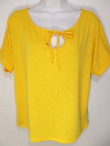 NEW SIZE XL YELLOW TIE  BUST DESIGNER LOOSE FIT CASUAL SUMMER WOMEN SHIRT