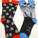 STA3 NEW MENS (2) PAIR SET STAR WARS CLONES R2D2 DARTH VADER BLACK DRESS SOCKS