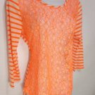 L331 NEW SIZE L  NEON ORANGE RUE 21  RAYON  FISHNET FRONT FASHION WOMEN SHIRT