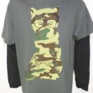 JK43 NEW SIZE M FUNNY CAMOUFLAGE CAMO KITTY CAT LONG SLEEVE MENS SOFT SHIRT