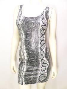 NEW SIZE S GRAY BLACK SEXY FAUX SNAKE SKIN COCKTAIL FORM FITTING WOMEN DRESS