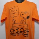 NEW SIZE SMALL SNOOPY WOODSTOCK CHARLIE BROWN CHICKS MAKE NO SENSE MEN  SHIRT