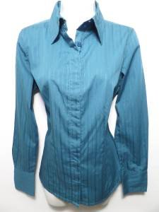 """NEW """"SIZE M"""" OCEAN TEAL PREPPY CAREER BUTTON BLOUSE POLO WOMAN SHIRT"""