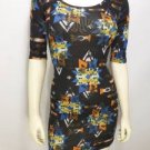 TR9 NEW SZ M BLACK ORANGE TRIBAL STAR RUE 21 DESIGNER FITTED COUTURE WOMAN DRESS