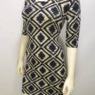 K998 NEW SZ L BLACK BLUE RUE 21 AZTEC SOFT DESIGNER FITTED COUTURE WOMAN DRESS