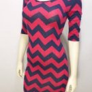 D33 NEW SZ M PINKBLUE RUE 21 STRIPED SOFT DESIGNER FITTED COUTURE WOMAN DRESS
