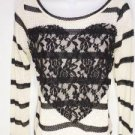 NEW SIZE S BLACK AND WHITE FISHNET LACE HEART DESIGNER RUE 21 WOMENS SHIRT