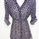 ST53 NEW SIZE S  RUE 21 NAVY CHIFFON COLONIAL 3/4 SLEEVE BUTTON WOMAN SHIRT