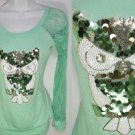 SE22 NEW SIZE STEAL BLUE OWLSEQUINS  RUE 21 LACE SLEEVES FASHION WOMEN SHIRT