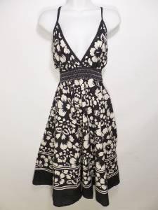 BB31 NEW SZ L BIG FLOWERS WHITE BLACK & WHITE LIGHTWEIGHT SUMMER WOMEN SUN DRESS