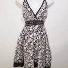 W211 NEW SZ M FLORAL CIRCLES WHITE BLACK & WHITE CASUAL SUMMER WOMEN SUN DRESS