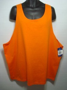 LRH6 NEW PLUS SIZE 4XL ORANGE SOFT FRUIT OF THE LOOM TANK TOP CASUAL MENS SHIRT
