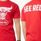 "NEW SIZE XL NBA CHICAGO BULLS "" WINDY CITY SEE RED""  RED WHITE MENS SHIRT"