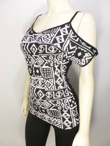 T883 NEW SIZE L SEXY TRIBAL WHITE BLACK COLD SHOULDER RAYON SOFT WOMENS SHIRT