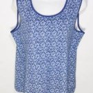 PD93 NEW SIZE XL BLUE WHITE POLKA DOT TRENDY FLORAL TANK TOP WOMANS SHIRT