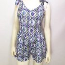 NEW SIZE M TRIBAL BLUE PURPLE LITE SUMMER BUTTON BACK WOMENS ROMPER OUTFIT