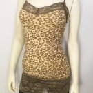 E422 NEW SZ M BROWN LEOPARD ANIMAL LACE TRIM SEXY FITTED TANK TOP WOMAN SHIRT
