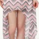 R331 NEW SIZE L PINK WHITE CHEVRON RUE 21 HIGH LOW CHIFFON FASHION WOMEN SKIRT