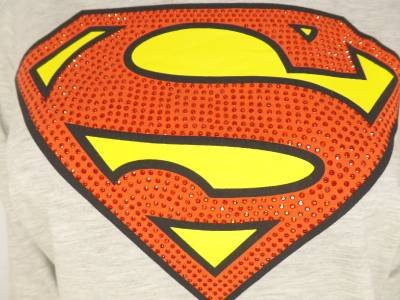 RR92 NEW SIZE M GRAY RED RHINESTUDS SUPERMAN SHIMMER SHIELD WOMANS SHIRT