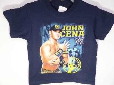 CC1 NEW BOYS SIZE 4  WWE WRESTLING JOHN CENA WORLD CHAMPION NAVY BLUE SHIRT