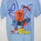 TLQ9 NEW SIZE M POWDER BLUE SPIDERMAN MARVEL COMICS WEB SPINNING SOFT MENS SHIRT