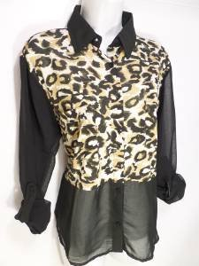 "NEW ""SIZE L"" APPLE BOTTOMS BROWN BLACK CHEETAH PRINT SHEER TRIM WOMENS SHIRT"