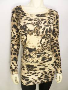 C332 NEW SIZE L SEXY LONG CUT TUNIC CHEETAH TRENDY RUE 21 FASHION WOMAN SHIRT