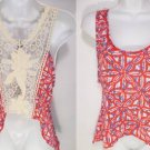 NEW SIZE M RED BLUE CREME CROCHET OPEN BACK DESIGNER SOFT WOMAN SHIRT