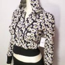 NEW SIZE S RUE 21 CROPPED BLK WHT SUNFLOWER HOODIE LIGHTWIEGHT WOMENS JACKET