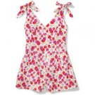 NEW XS FLORAL PINK RED LITE SUMMER BUTTON BACK WOMENS JR ROMPER OUTFIT