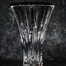 Tall Clear Fine Lead Crystal Vase Footed with Sunray Pattern