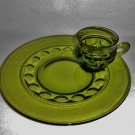 Indiana Glass Dinnerware Set Green KING'S CROWN Pattern Service for 6