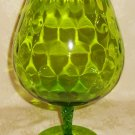 Italian Empoli Glass Brandy Snifter Green Optic Over Sized Large Compote Vase