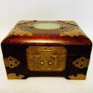 Chinese Jewelry Box Wood Brass and Jade with Red Silk Lining From Shanghai China