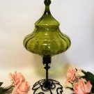 Vintage Circus Tent Jar Centerpiece w Wrought Iron Stand Italian Optic Green Art Glass