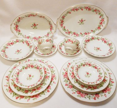 Pink Rose China Dinnerware Service for 2 Set Platter/Lg Bowl Garland by SC Japan