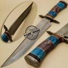 Damascus Bowie Knife Custom Handmade Damascus Hunting Damascus Bowie knife 890