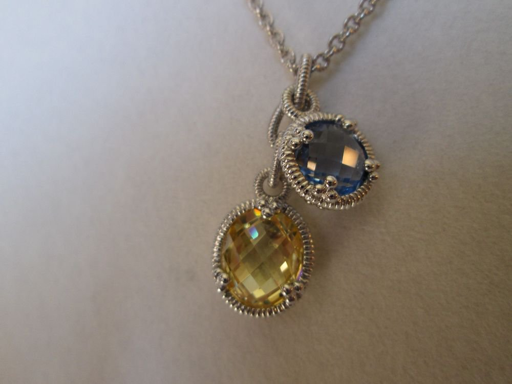 Judith Ripka 2 Stone Blue Quartz & Canary Crystal Drop Necklace Sterling Silver