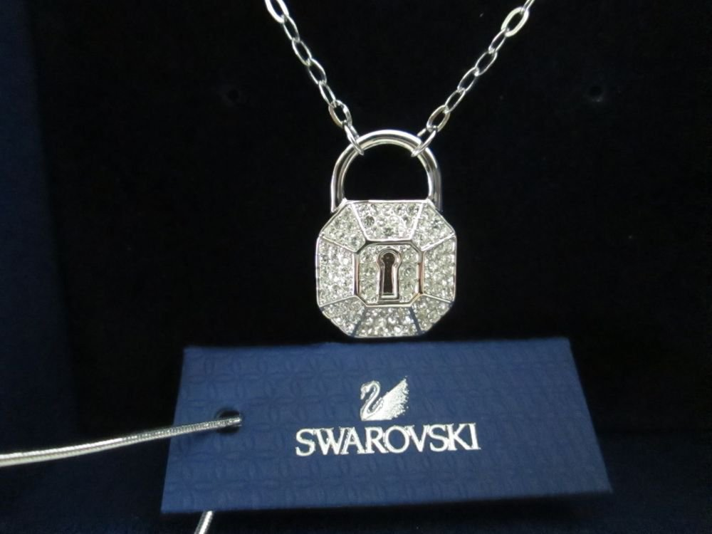 Swarovski Surely Lock Pendant Necklace 1156308 Free Ship & Swarovski Gift Bag