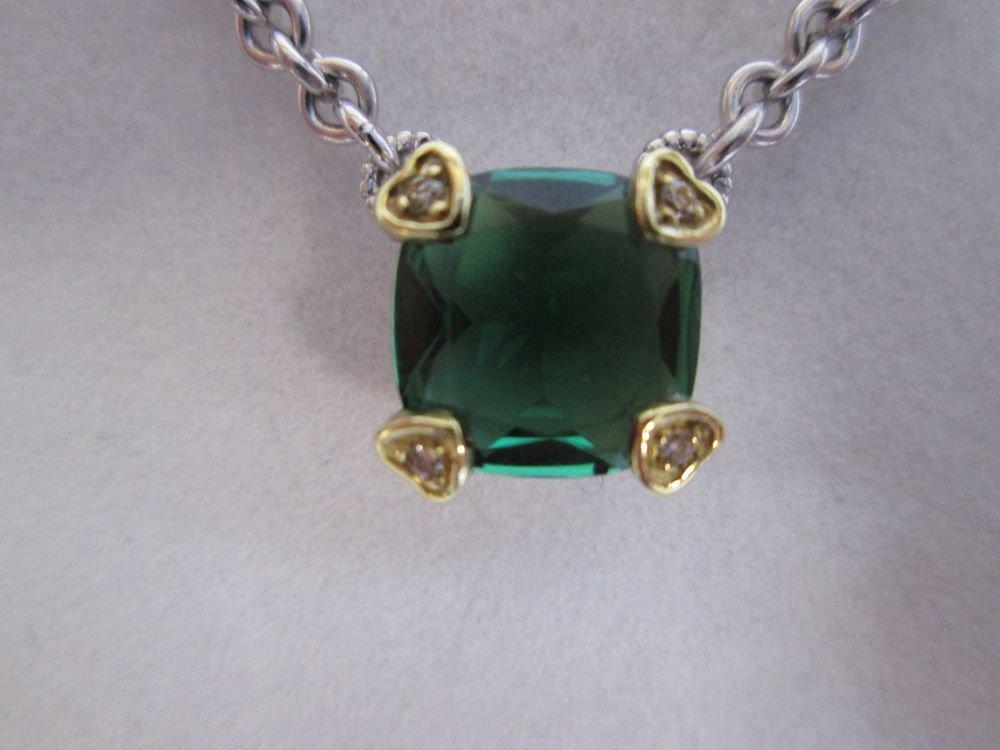 Judith Ripka Green Quartz w/ Diamond Accents Sterling Silver & 18k Gold Necklace