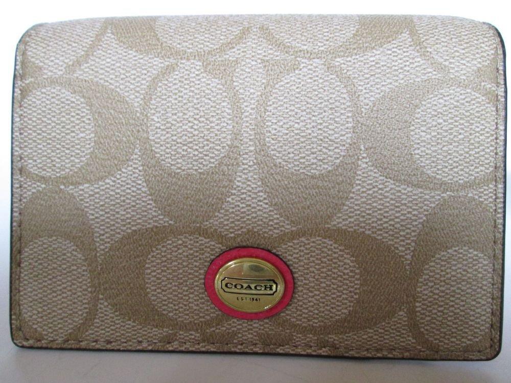 Coach Peyton Signature Business Card Case F68657 Lt Khaki / Pomegranate F68657
