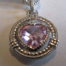 Judith Ripka Pink Crystal Sterling Silver Heart Bracelet
