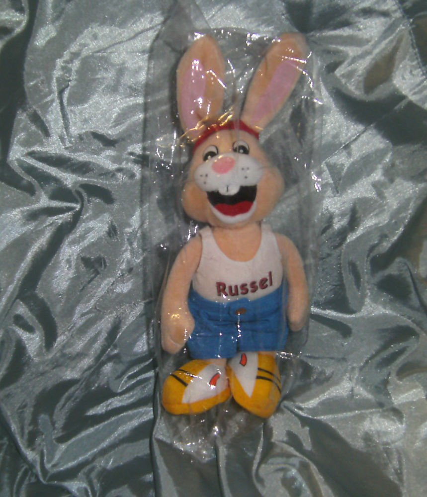 """Russel Pet Food Advertising Rabbit Soft Toy - 9"""" H - New"""