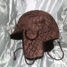 Mens - Trapper Hat - fur trim - padded and lined - dark brown - new without tags