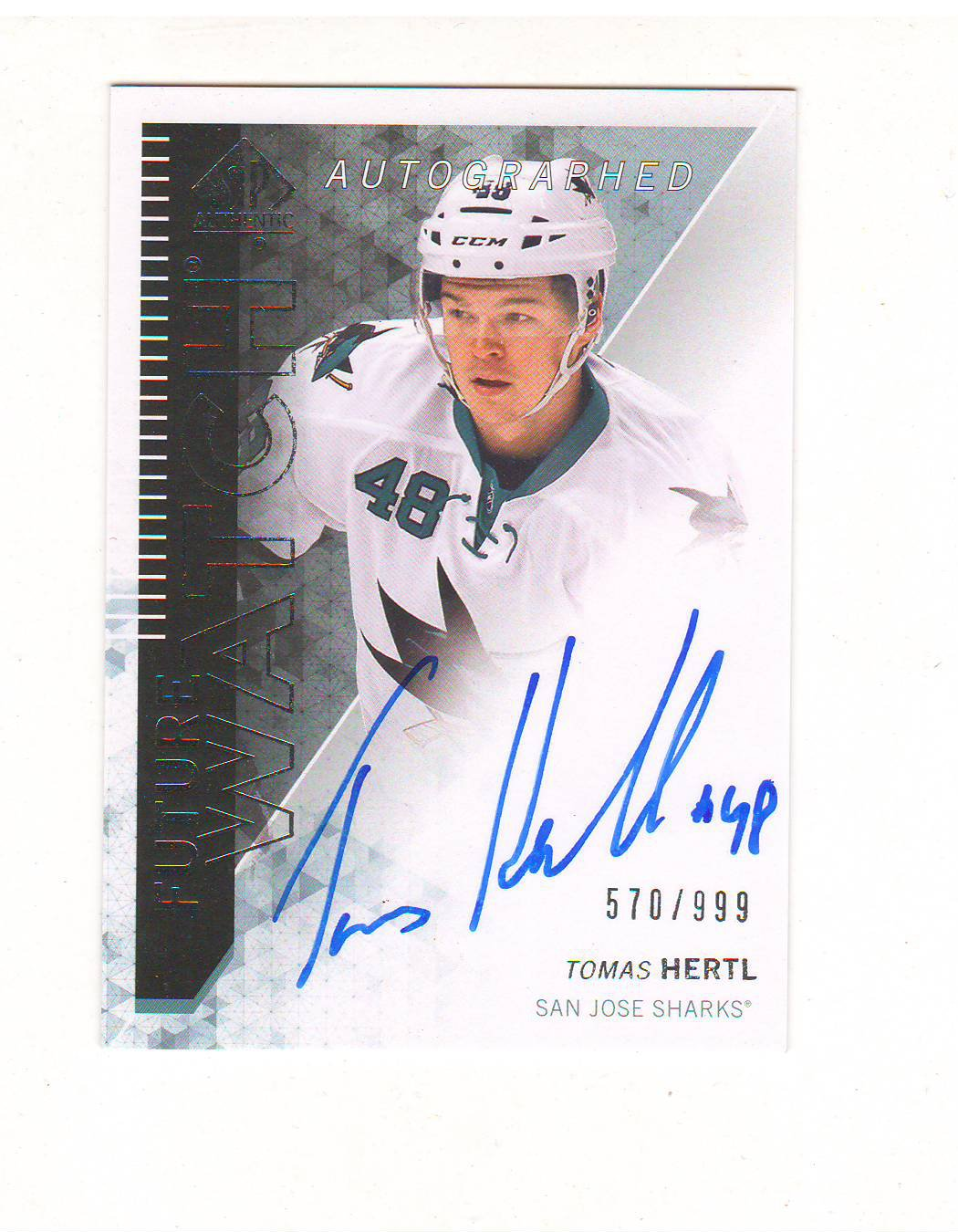 2013-14 Sp Authentic Future Watch Tomas Hertl Auto Rc #d 570/999 San Jose Sharks