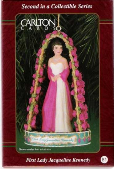 Carlton Cards First Lady Jacqueline Bouvier Kennedy 1999 Christmas Camelot Ornament Mint in Box