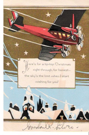 1931 Collectible Aviation Christmas Card Gordon R. Silver in Los Angeles Mailing Envelope